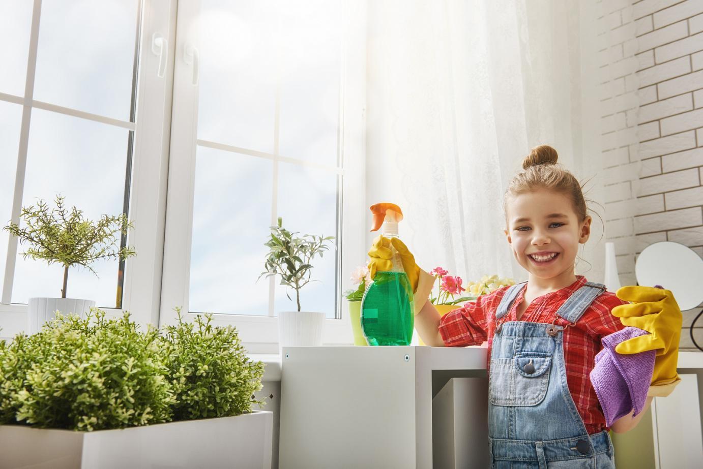 Little Girl Doing Chores